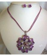 Purple Enamel Rhinestone Ribbon Earring Set Clip - $8.00