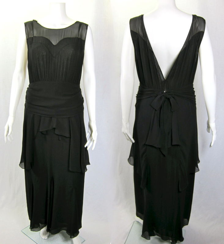Vintage 1930's Deco blk silk sheer flapper party dress