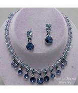 Blue Montana dangle crystal necklace earring se... - $22.77
