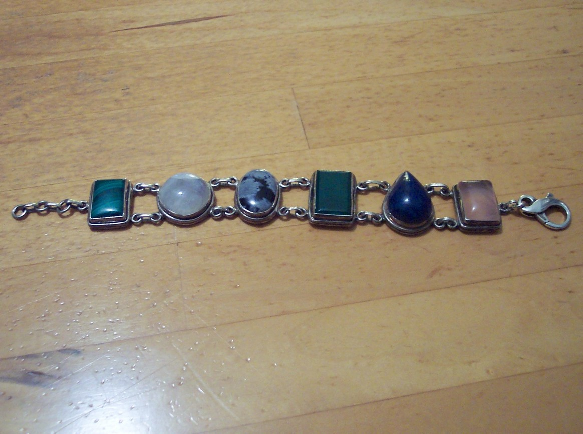 PRICE REDUCED! Beautiful .925 Sterling Silver Mulit-Gemstone Bracelet