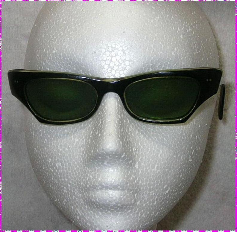 Glam vintage 1950s sunglasses black and clear rims France