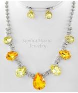 Sparkling Yellow crystals tear drop necklace se... - $22.76