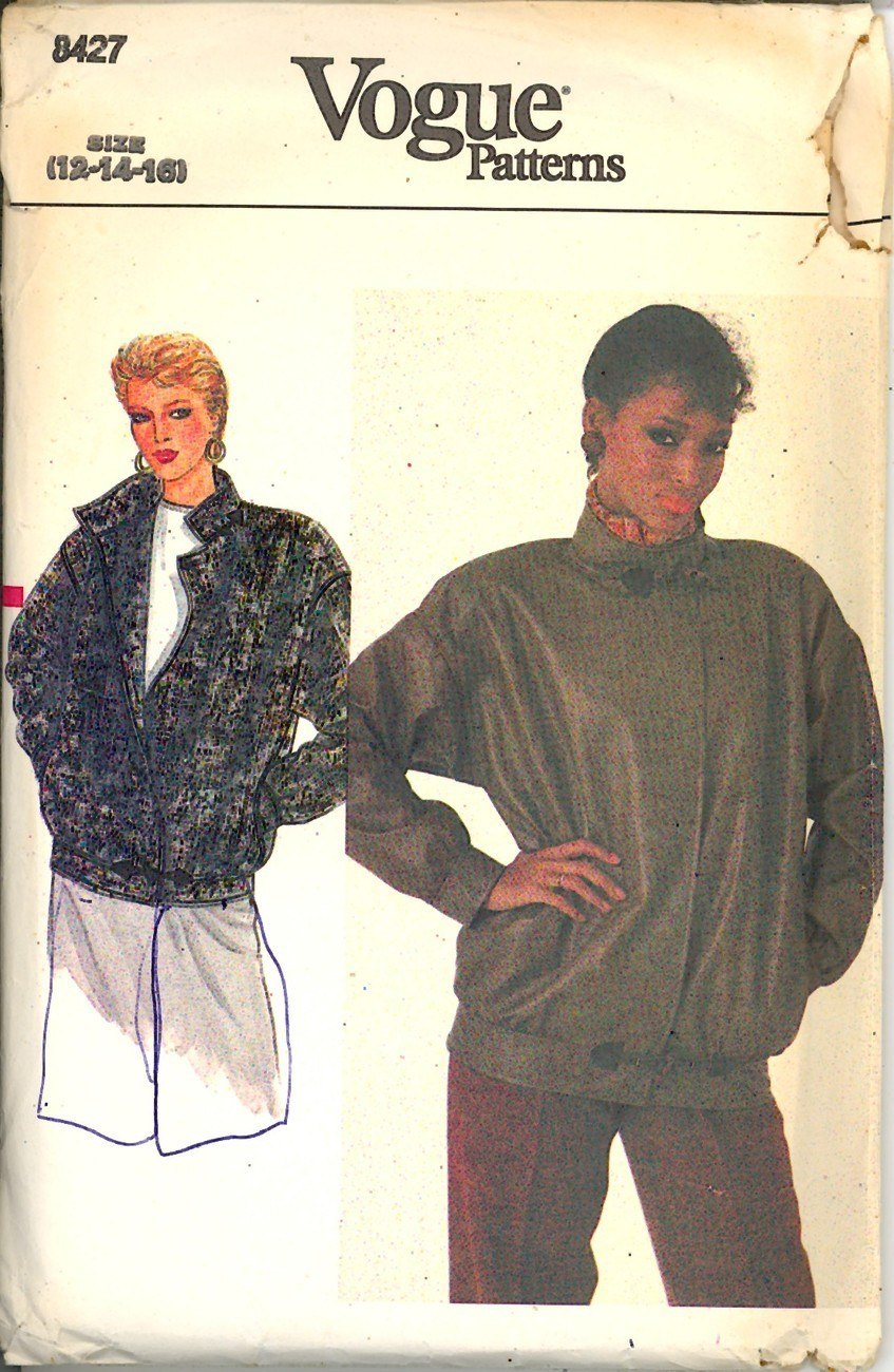 80s Vogue Jacket Sewing Pattern Size 12 14 16