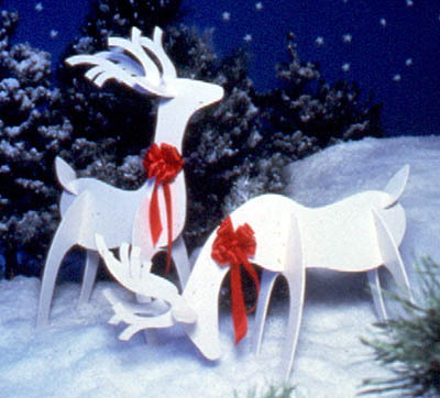 Woodworking pattern 2 reindeer yard decorations books for Wooden christmas yard decorations patterns
