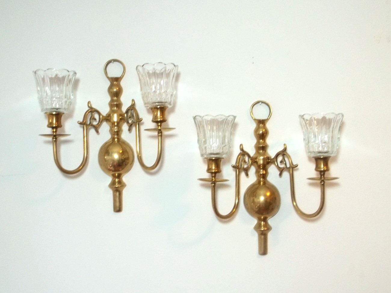 Colonial Wall Sconces Candles : Colonial 2 Arm Solid Brass Wall Candle Sconces Set of 2 Vintage - Sconces