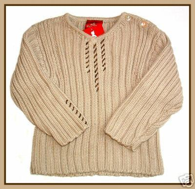 Charabia Baratin Cotton Leather Trim Sweater 2Y   Retail  90 00