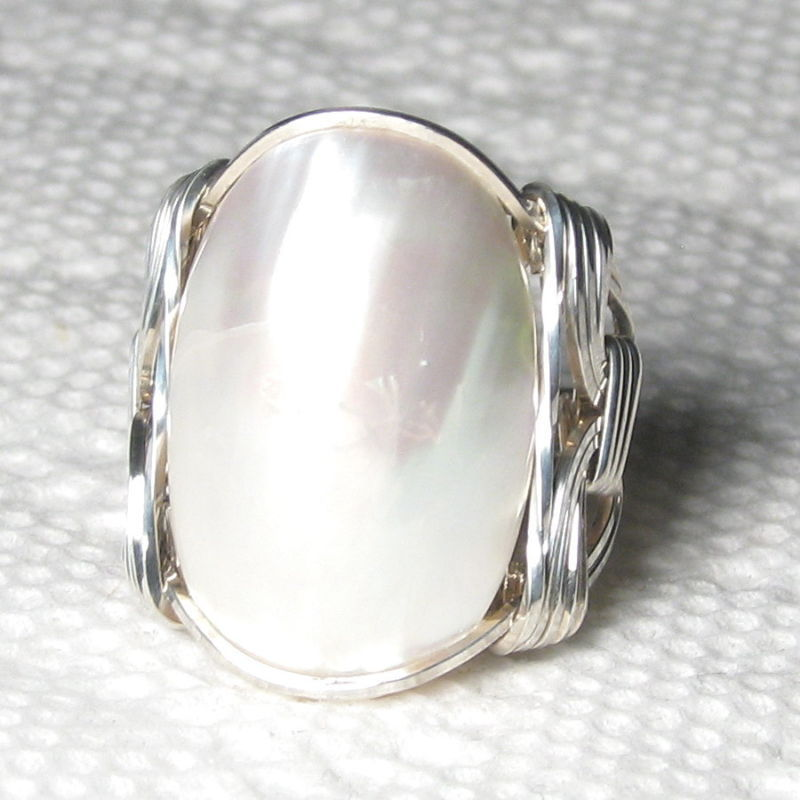 Iridescent Luminous Mabe Pearl Sterling Silver Ring