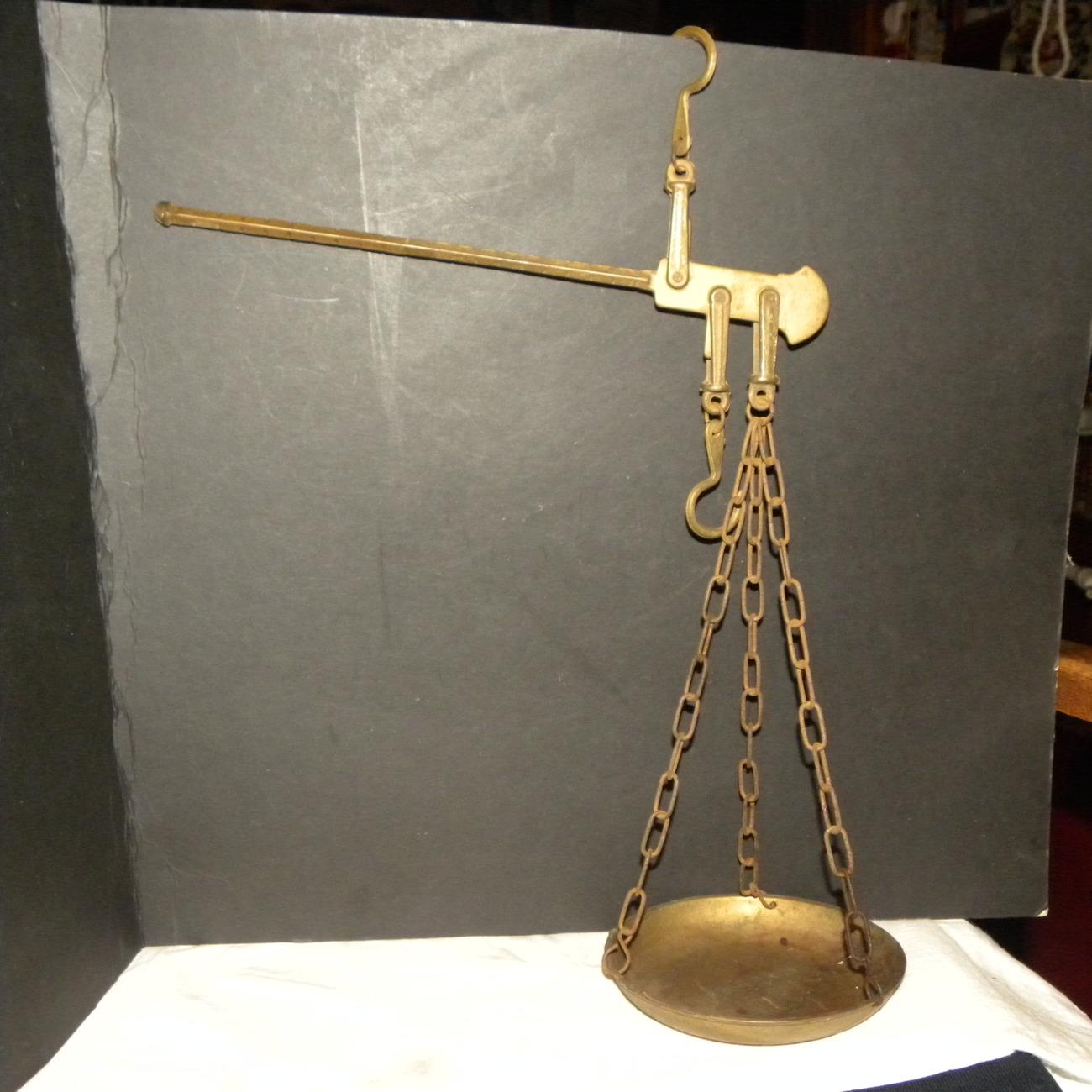 Antique Balance Scale Brass Pan Beam Hooks Scales