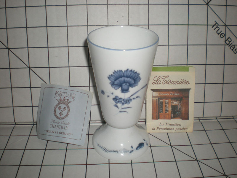 NEW Limoges Mazagran Coffee Cup A L'Oeillet Chantilly Blue White Footed Goblet