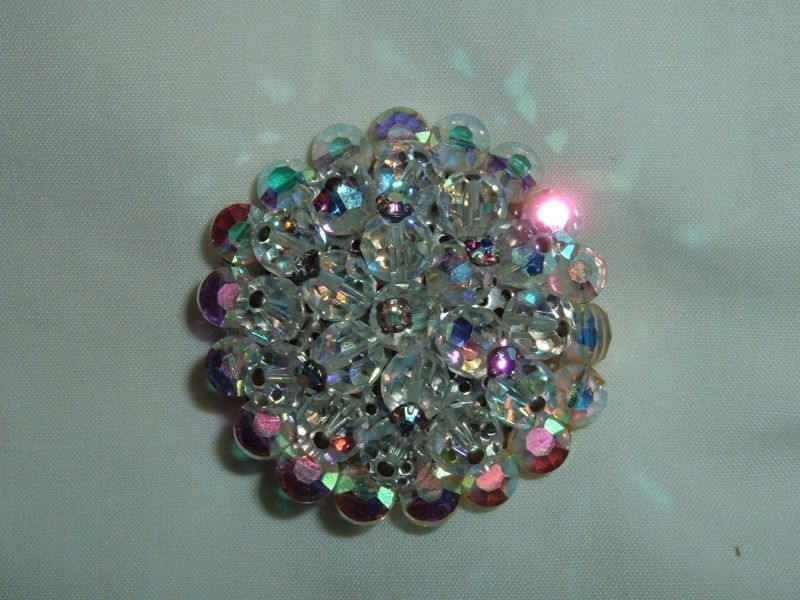 Vintage Clear Crystals Round Pin Gorgeous   F6