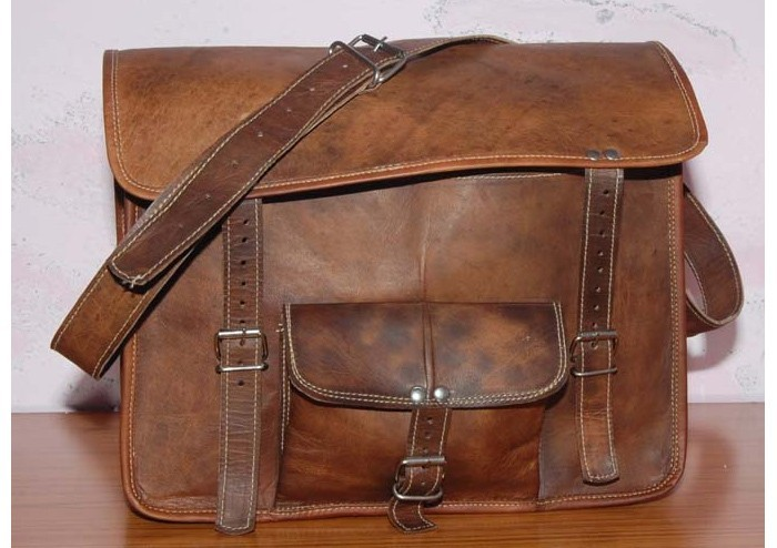 Pure Genuine Padded Handmade Soft Leather Laptop Messenger Shoulder Satchel Bags