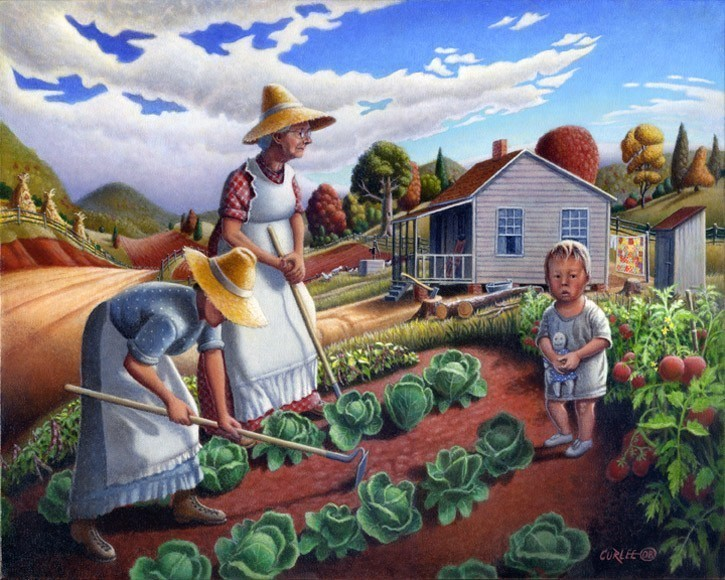 Rural Americana Country Garden Folk Art Rural Farm Life American Landscape
