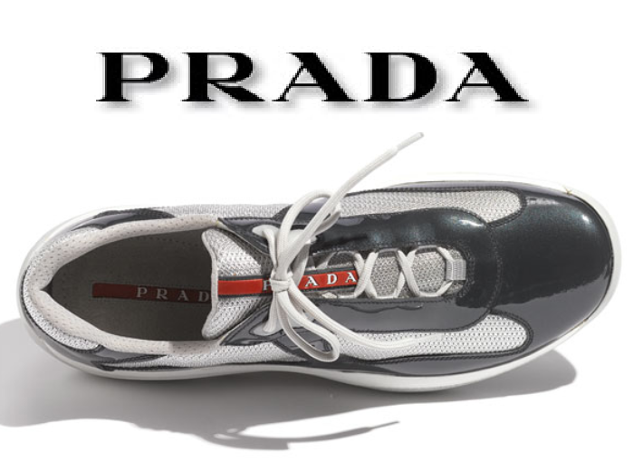 $465 AUTHENTIC PRADA LOGO America's Cup MESH PATENT LEATHER SNEAKERS *BRAND NEW*