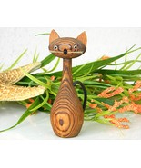 Vintage Japanese Cryptomeria Wood Carved Kitty ... - $16.95