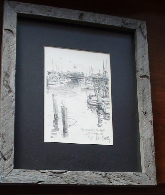 "FISHERMAN'S WHARF"" by Don Davey SKetch Original no Print 11 1/2 X 9"