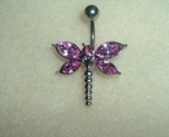 Buy Body Jewelry - Purple Stone Dragonfly Belly Navel Ring Body Jewelry