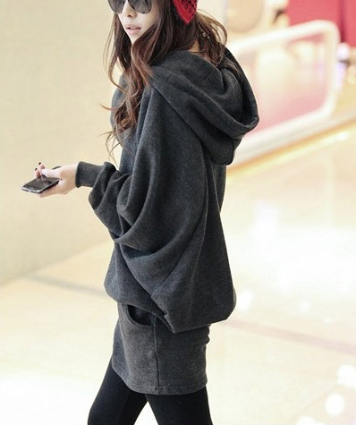Hoodie winter dress - grey color