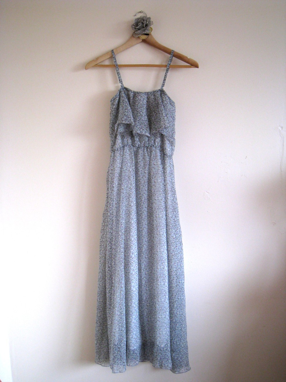*SOLD* Sweet Frilly Floral Printed Blue Spaghetti Straps Chiffon Maxi Dress