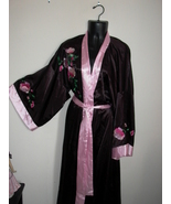 FLORA NIKROOZ  Long Night Gown Robe M with Tie SILKY Pink Black UNWORN - $14.99