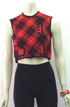 Vintage Tartan Plaid 60s Mini Top Bonanzle from bonanzle.com