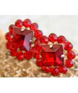 Vintage Rhinestone Earrings Ruby Red Flower Rou... - $22.95