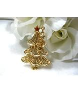 AAi Gold Tone Christmas Tree w/Dangling Stars Pin - $8.99