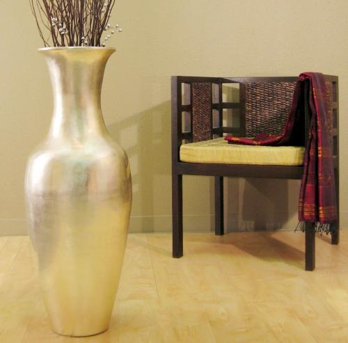 36 Natural Silver Leaf Large Floor Vase Large Floor Vases