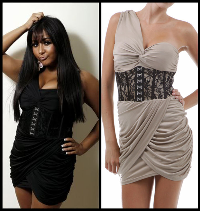 SEXY CLUB JERSEY SHORE SNOOKI TAUPE ONE SHOULDER LACE CORSET MINI DRESS S