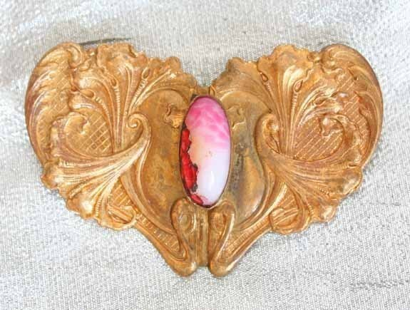 Victorian Elegant Art Nouveau Art Glass Flower Brooch