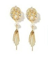 Crystal Pearl Gold Waterfall Tassel Clip Earrin... - $9.95