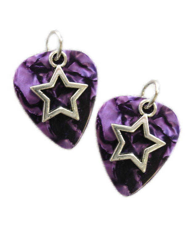 CUSTOM DEEP PURPLE GUITAR PICK w/ STAR CHARM EARRINGS PICKS