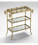 GOLD FAUX BAMBOO TRAY TABLE, 3 Tiers, Mirrored ... - $395.00