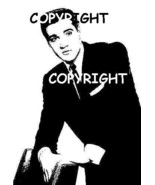 ELVIS IN BLACK SUIT LEANING ON CHAIR NEW MOUNTE... - $7.23
