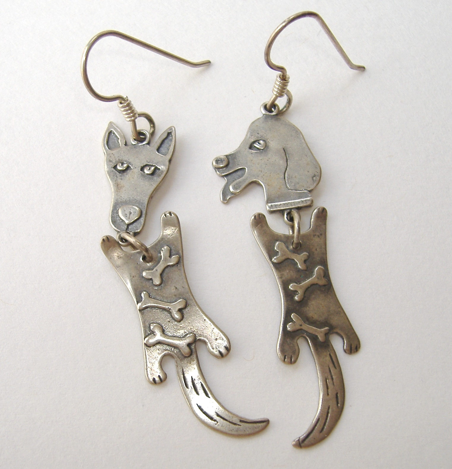 Metal Puppy Dog Earrings Handmade Creative Sterling Silver