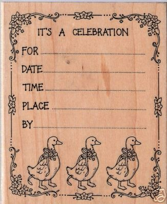 Hero Arts Celebration Info Ducks  Mounted Rubber Stamp