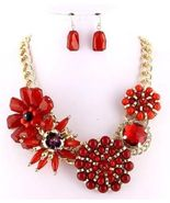 Chunky statement flower necklace set gold metal... - $22.30