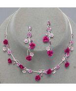 Fuchsia Pink Flower Crystal Bridesmaid Prom Wed... - $19.79