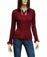 Dress-U by Sharon Burgundy Lace Trim Blouse Top Misses Medium - $18.95