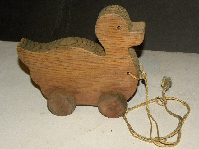 Vintage Handcrafted Pull Toy Duck Fir Unfinished