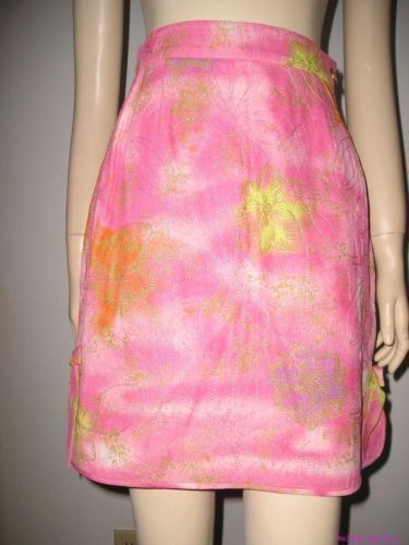 Runway UNGARO COUTURE Pink Hand Painted and Hand QUILTED SILK MINI SKIRT S or XS