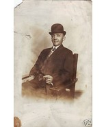 Antique Vintage Photo Postcard BLACK Man Bowler... - $6.00