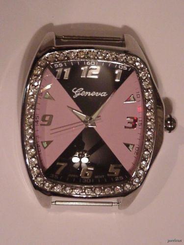 Large GENEVA Rhinestone Studded Watch Pink/Black Runs