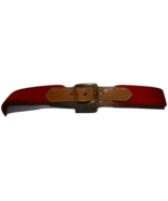Dooney & Bourke Red Fabric Tan Leather Belt Sz 40 - $14.70