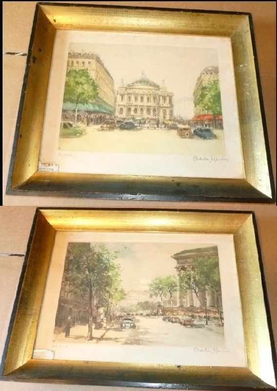 Lot of 2 CHARLES MONDIN numbered Prints lithographs etchings Paris scenes framed