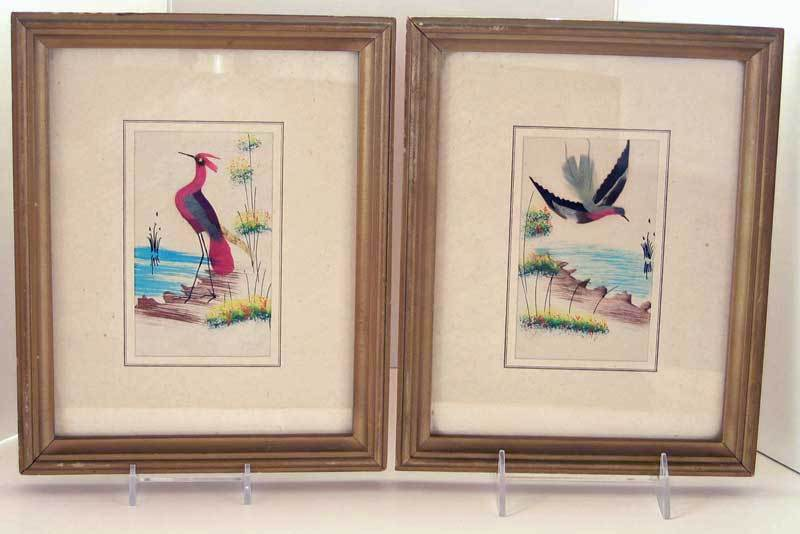 Mexican Feather Art, 2 Mid 20th C Bird Scenes