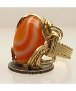 Wire Wrapped 14 Kt Gold Striped Sardonyx Ring - $1,047.33