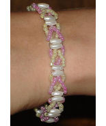 OOAK Pearlescent pink and white beaded bracelet - $18.00