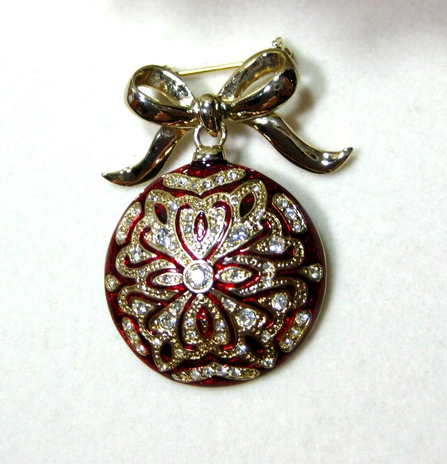 MONET Red Enamel &amp; Rhinestones Christmas Ornament Brooch 