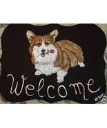 Welsh Corgi Dog Custom Painted Welcome Sign Plaque - $29.95