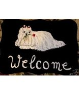 Maltese Dog Custom Painted Welcome Sign Plaque - $31.95